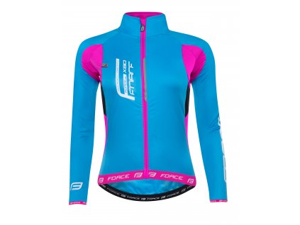Dámská cyklistická bunda FORCE X80 tenký softshell, LADY, modrá růžová