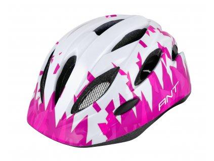 Dětská cyklistická přilba FORCE ANT bílá růžová