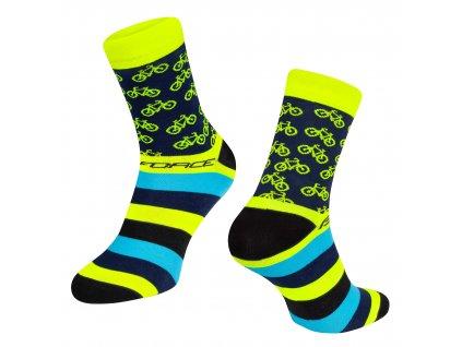 Cyklistické ponožky FORCE CYCLE žluté
