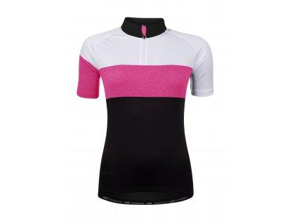 Dámský cyklistický dres FORCE VIEW LADY černo bílo růžový