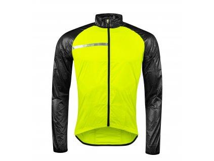 Cyklistická bunda FORCE WINDPRO neprofuk fluo černá