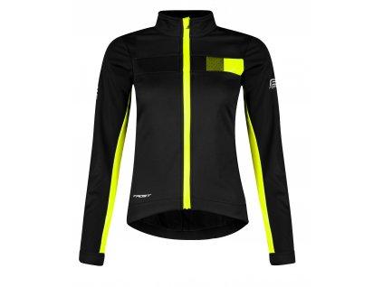 Dámská cyklistická softshell bunda FORCE FROST černo fluo