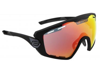 Cyklistické brýle FORCE OMBRO PLUS černé mat., červená skla