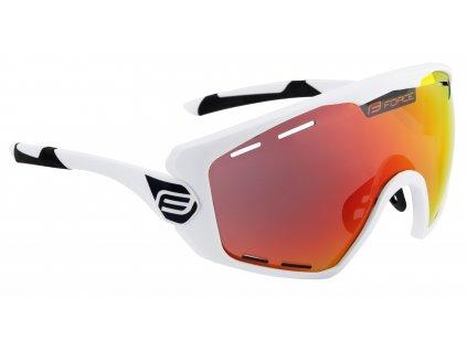Cyklistické brýle FORCE OMBRO PLUS bílé mat., červená skla