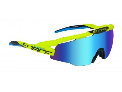 Cyklistické brýle FORCE EVEREST fluo, modrá zrcadlová skla