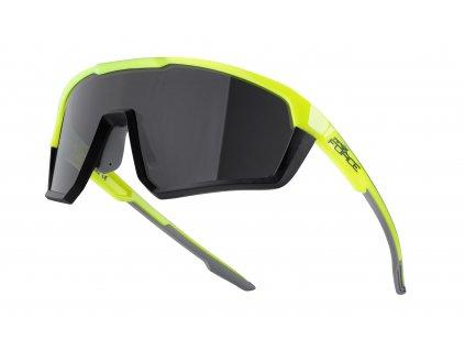 Cyklistické brýle FORCE APEX fluo černé, černá skla