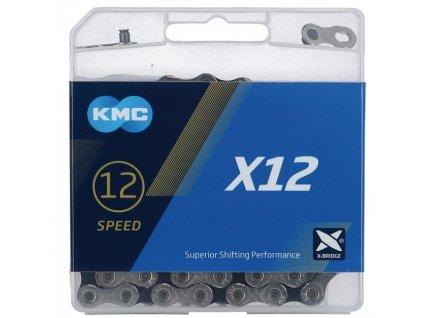 Řetěz na kolo KMC X12 X12 Silver Black 12 rychlostní