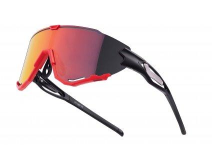 Cyklistické brýle FORCE CREED černo červené, červené revo skla