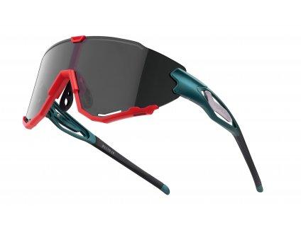 Cyklistické brýle FORCE CREED petrol. červené,černé mirr. skla