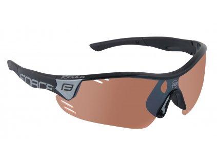 Cyklistické brýle FORCE RACE PRO černé, rozjasňovací skla