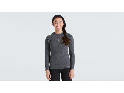 Dámské funkční triko Specialized  Women's Merino Seamless Long Sleeve Base Layer šedé