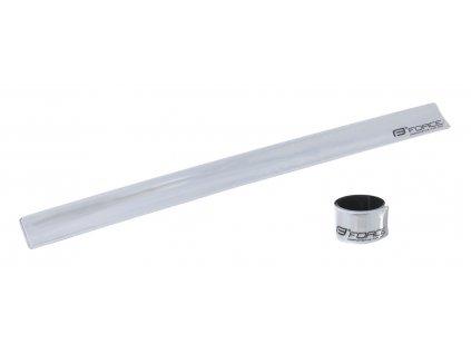 Pásek reflexní FORCE samonavíjecí 38 cm, stříbrný