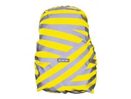 Obal na batoh Wowow Berlin stříbrná reflexní proužky žlutá