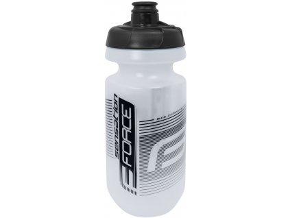 Cyklistická láhev FORCE SENSATION 0,62 l čirá černý potisk