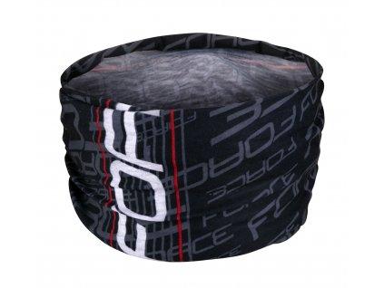 Letní multifunkční šátek na kolo FORCE UNI černo-bílý