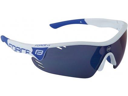 Cyklistické brýle FORCE RACE PRO bílé modrá skla
