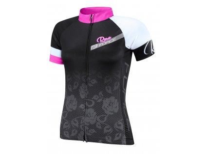 Dámský cyklistický dres FORCE ROSE černo růžový