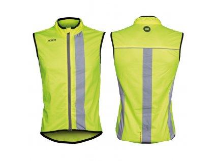 Cyklistická vesta větrovka Wowow Maverick žlutá reflexní pruhy a zip