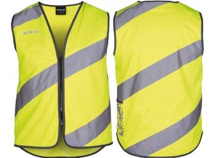 Bezpečnostní vesta Wowow Roadie žlutá, reflexní pruhy, zip