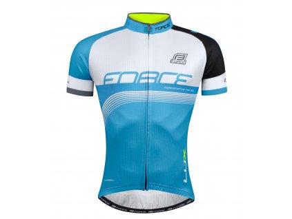 Cyklistický dres FORCE LUX modro černo bílý