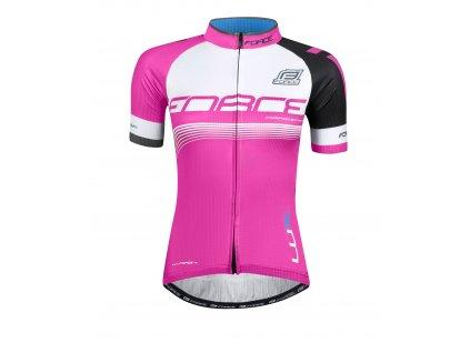 Dámský cyklistický dres s krátkým rukávem FORCE LUX růžový