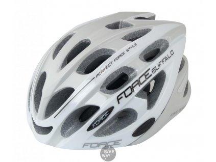 Cyklistická přilba na kolo FORCE BUFFALO šedo-bílá