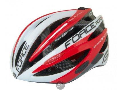 Cyklistická přilba na kolo FORCE ROAD PRO bílo-červená