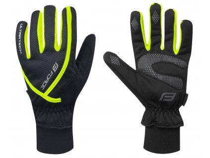 Zimní cyklistické rukavice FORCE ULTRA TECH černé fluo