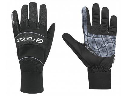 Pánské cyklistické rukavice FORCE WINDSTER SPRING černé