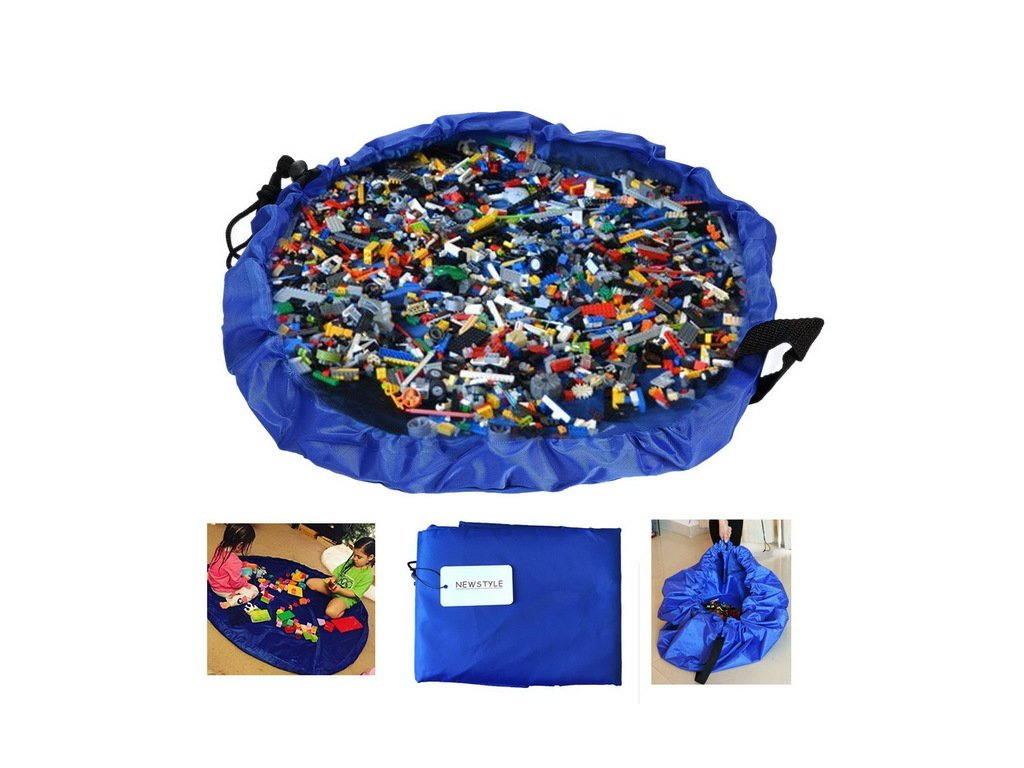 45CM Portable Kids Play Mat and Toy Storage Bag Lego Toys Organizer Bin Box Blue Pink.jpg 640x640