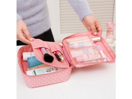 Waterproof Waterproof Wave Point Pattern Nylon Zipper Women Makeup Cosmetic Bag Case Toiletry Storage Travel Wash Pouch Wave Point Pink 6 nologo 600x600