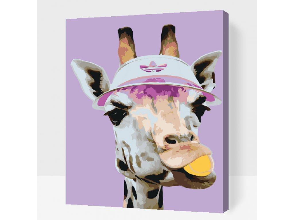 Malen nach Zahlen - Giraffe spielt Tennis (Größe 40x50cm, Rahmen ohne Rahmen (nur Leinwand))