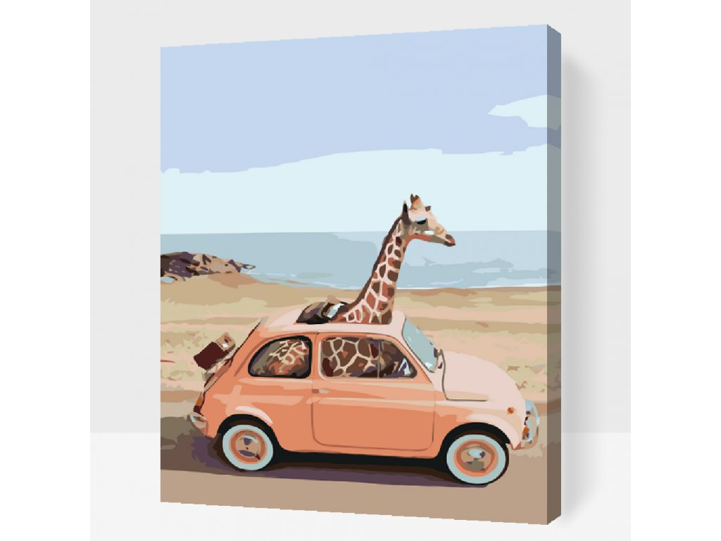 Malen nach Zahlen - Giraffe im Auto