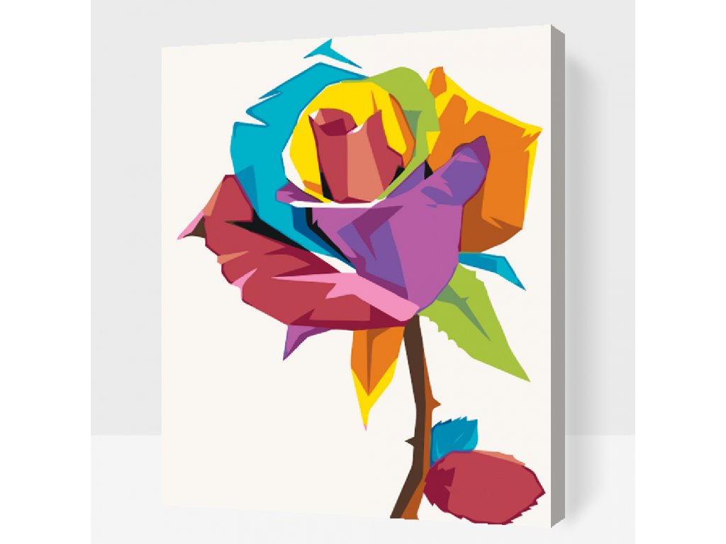 Malen nach Zahlen - Farbige Rose (Größe 40x50cm, Rahmen ohne Rahmen (nur Leinwand))