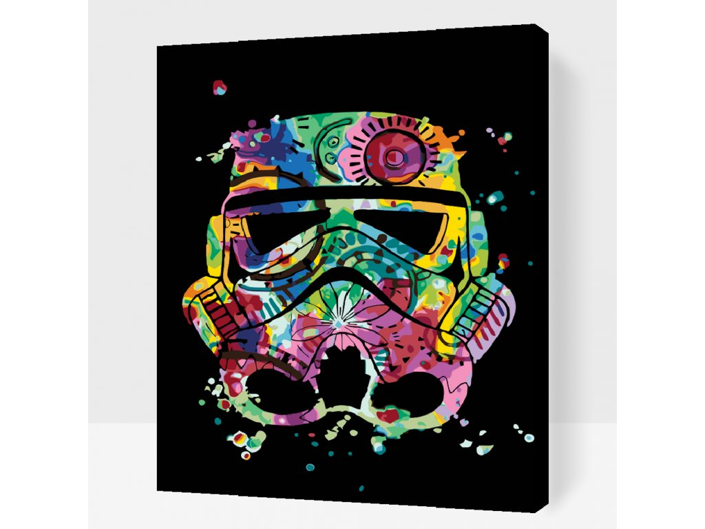 Malen nach Zahlen - Stormtrooper (Größe 40x50cm, Rahmen ohne Rahmen (nur Leinwand))