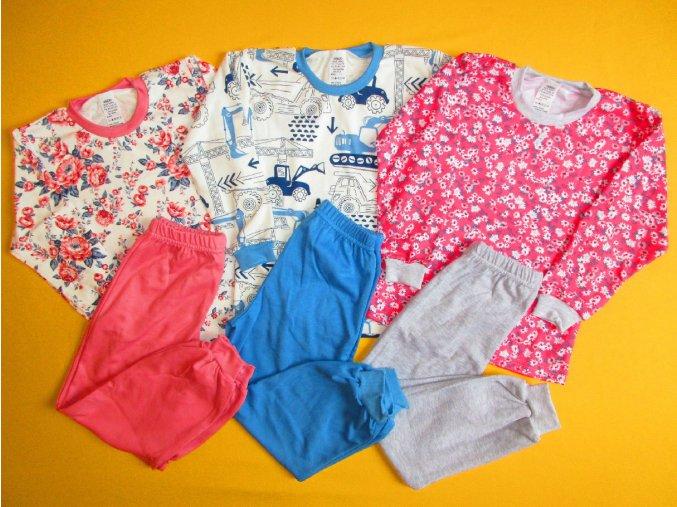 Pyžamo dlouhý rukáv, jednobarevné kalhoty 1