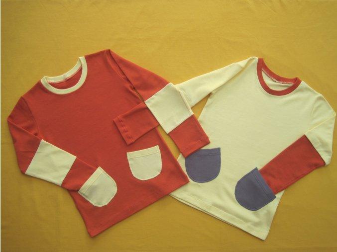 Tričko dlouhý rukáv 2 kapsy