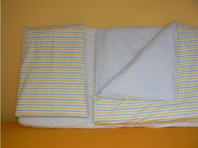 Trojdílná sada povlečení na postel velikost 60x120 - punítky a proužky