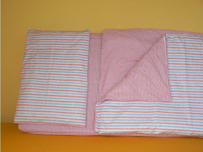 Trojdílná sada povlečení na postel velikost 60x120cm - proužek