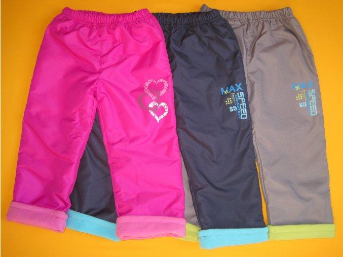 Zateplené šusťákové kalhoty s potiskem 1