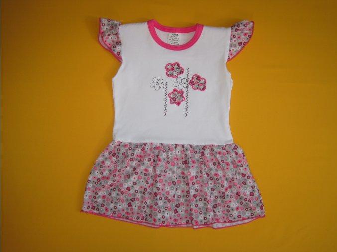Letní bavlněné šatičky krátký rukáv Květy