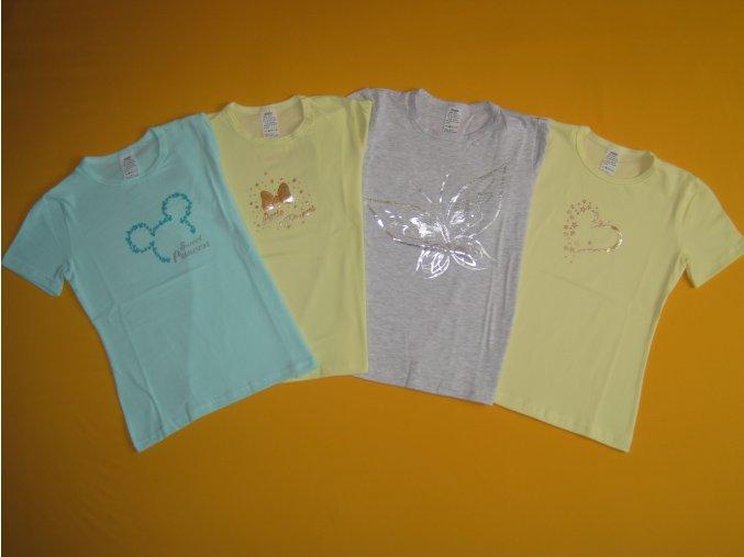 Dívčí tričko krátký rukáv třpytivý potisk 2