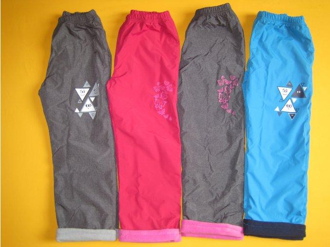 Zateplené šusťákové kalhoty s potiskem hladký šusťák 2