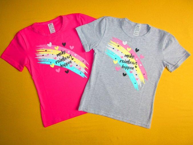 Dívčí tričko krátký rukáv Duha