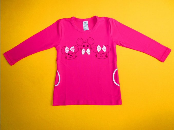 Dívčí tričko - tunika s dlouhým rukávem Myšky