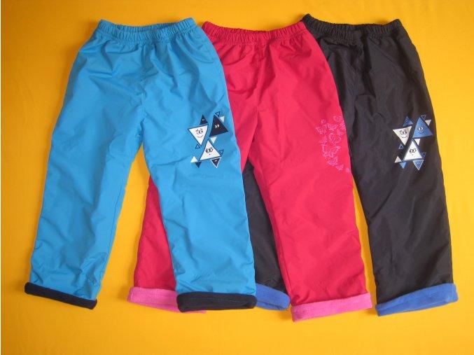 Zateplené šusťákové kalhoty s potiskem hladký šusťák 1
