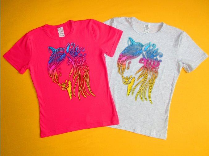 Dívčí tričko krátký rukáv Kůň 2