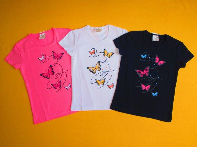 Dívčí tričko krátký rukáv Motýlci