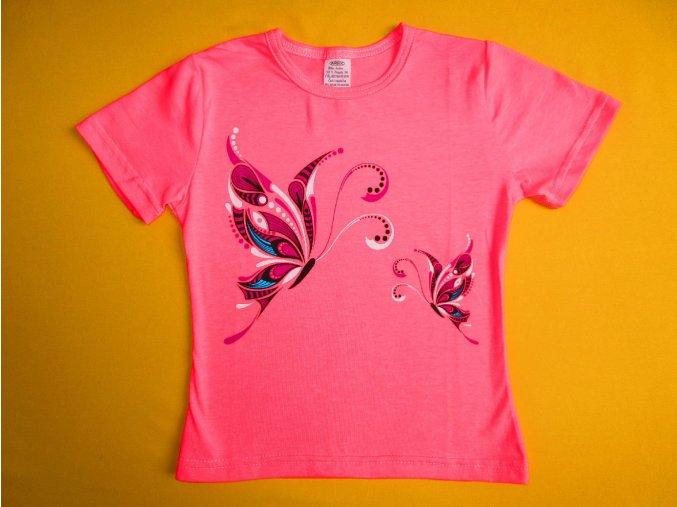 Dívčí tričko krátký rukáv Motýli 1