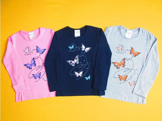 Dívčí tričko dlouhý rukáv Motýlci